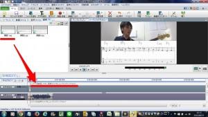 レイヤー用動画、文字、クリップをここにドラッグアンドドロップに画像をドラッグすると、動画に画像が重なります