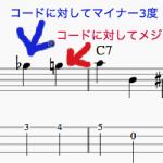半音進行を入れたベースライン(よくやるウォーキングベースの動き方)
